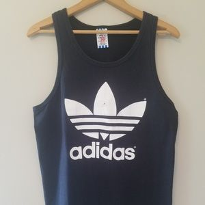 Vintage 80s 90s Adidas Black Tank Top Medium Shirt